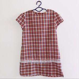 Vintage Handmade Girls plaid and lace dress
